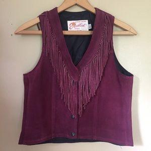 Vintage 70s Purple Suede Fringed Vest
